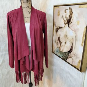 Large Charming Charlie fringe suede open cardigan for Sale in Rockford, IL