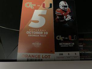 Miami hurricane ticket for Sale in Lake Worth, FL