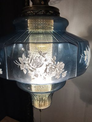 Antique Blue Glass With Floral Design Hanging Oil Lamp Converted With Diffusor for Sale in Grape Creek, TX