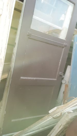 EXTERIOR ANTIQUE WOOD glass on top DOOR GREAT FOR DIY PROJECT for Sale in Yuma, AZ