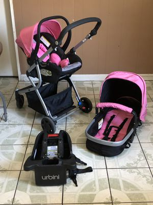 PRACTICALLY NEW URBINI OMNI PLUS TRAVEL STROLLER CAR SEAT AND BASSINET 3 in 1 for Sale in Jurupa Valley, CA