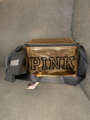 Victoria Secret PINK — Metallic Rose Gold Cooler & Black Koozie for Sale in Corona, CA