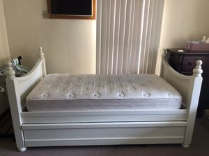 White Twin Bed Frame with Trundle MATTRESS NOT INCLUDED for Sale in Saugus, MA