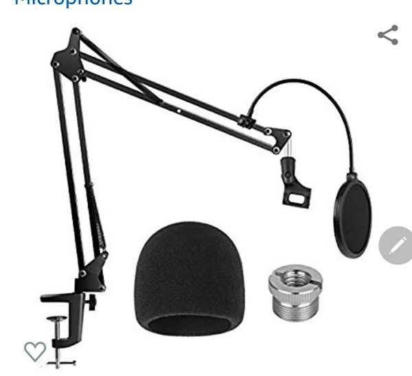 Microphone Stand with Mic Microphone Windscreen and Dual Layered Mic Pop Filter Suspension Boom Scissor Arm Stands