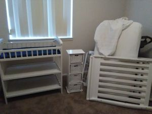 Crib, mattress, changing table, drawers, new cover sheets for Sale in Kaysville, UT