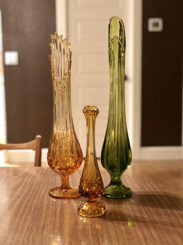 Vintage Amber Fenton Hobnail bud vase, swung glass, 1970s