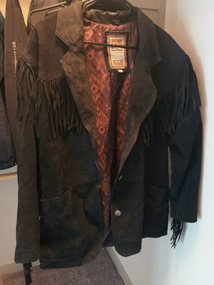 Large fringed black coat with two star buttons for Sale in Austin, TX