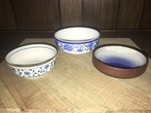 3 Small Handmade Clay & Stoneware Pottery Art Trinket Dishes Mini Bowls Signed for Sale in Sacramento, CA
