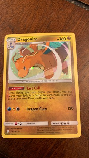 Pokemon Dragonite 119/181 Holo Rare Team Up Near Mint/Mint for Sale in Elk Grove, CA