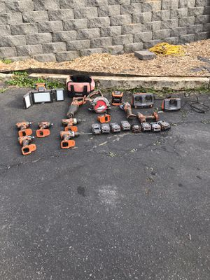 """Rigid cordless tool sets. 3 impacts 1 is gen 5. Drill and hammer drill.grinder 6-1/2"""" saw and octane saw(not pictured) sawzall 2 chargers flashlight for Sale in Vista, CA"""