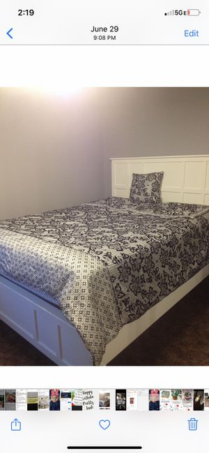 White queen size bed frame from living spaces for Sale in Industry, CA