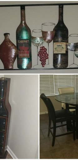 Metal Wall Art, Wood Wine Rack, Dinning Table + 4Chairs for Sale in St. Louis,  MO