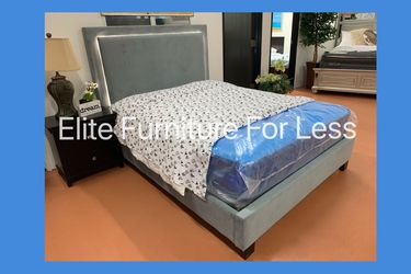 Queen Grey Fabric LED Bed Frame for Sale in Chula Vista,  CA