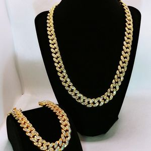New And Iced Out 11x20 14kt Gold Filled Cuban Link Necklace With Matching 11x8.5 Inch Bracelet for Sale in Cleveland, OH