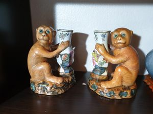 Chinese Antique Pair Monkeys porcelain. for Sale in ROWLAND HGHTS, CA