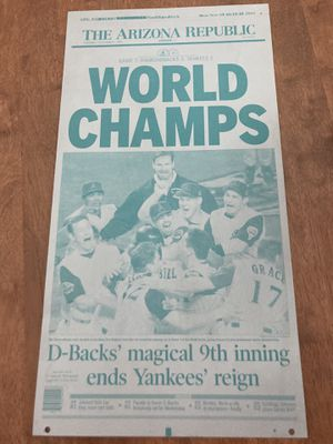 Press plate from 2001 D-backs win for Sale in Tempe, AZ