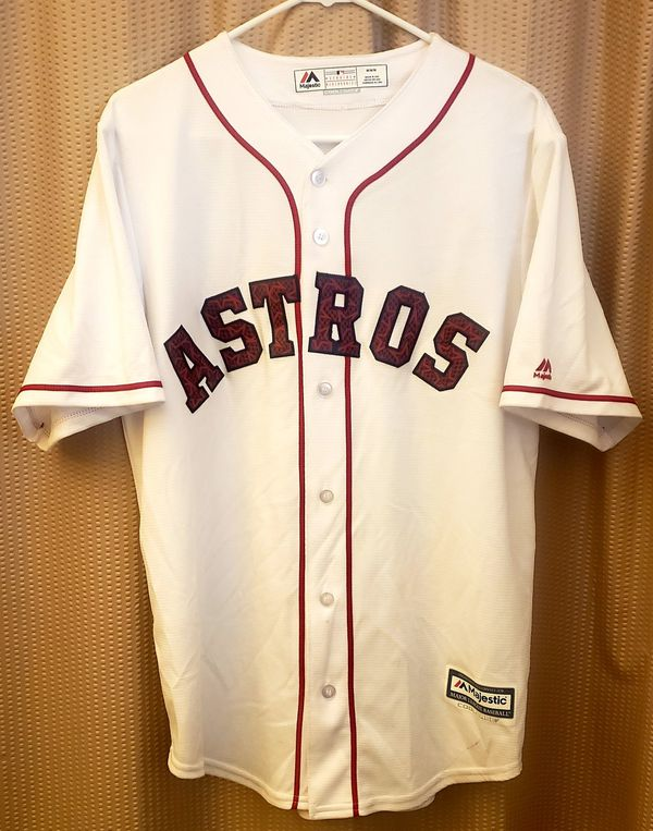HOUSTON ASTROS((Majestic mens medium)) white button up with red trim