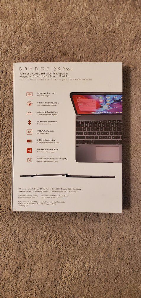"Brydge Pro+ Plus Keyboard W/ Trackpad For ipad Pro 12.9"""