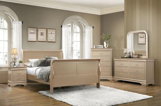 🍯Brand New Gold Gloss Eastern King Sleigh Bed 5pc Set!