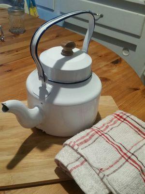 Brand new, never used white home decor farm house teapot. Original price still on $29.99. for Sale in Gardena, CA