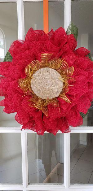 Red burlap flower for Sale in Orlando, FL