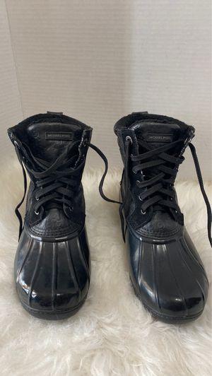 Women's Shoes Michael Kors EASTON BOOTIE Lace Up Duck Rain Boots Black Size 8 for Sale in Dearborn, MI