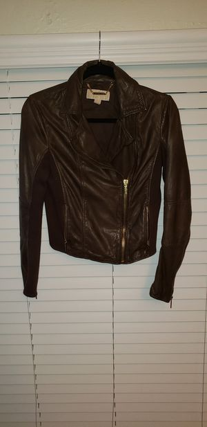 Michael Kors Brown Leather Moto Jacket for Sale in San Diego, CA