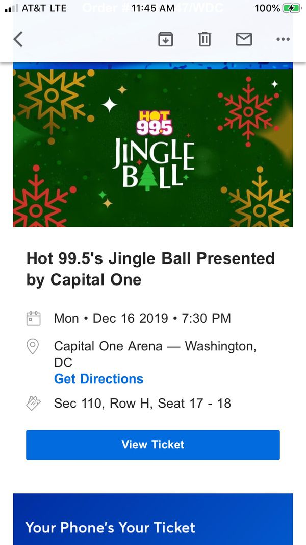 JINGLE BALL at CAPITAL ONE ARENA-2 TICKETS- SECTION 110