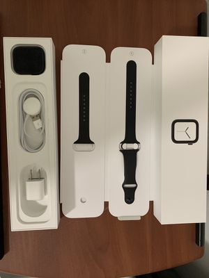 APPLE WATCH SERIES 4 + GPS AND CELLULAR DATA SPACE GRAY ALUMINUM CASE BLACK SPORT BAND for Sale in Homestead, FL