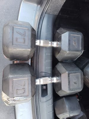 70lb Rubber Coated Dumbbells for Sale in Long Beach, CA