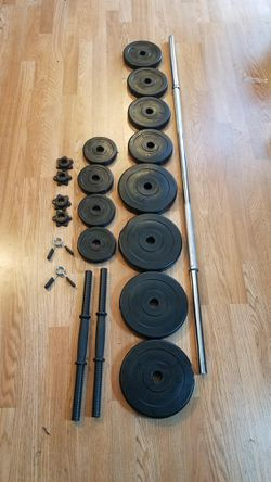 """5 foot standard 1"""" barbell with 4x5 4x2.5 4x1.5 and 2 dumbbell handles for Sale in Montebello,  CA"""