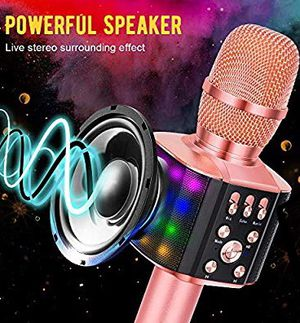 BONAOK Wireless Bluetooth Karaoke Microphone with controllable LED Lights, 4 in 1 Portable Karaoke Machine Speaker for Android/iPhone/PC (Rosegold, b for Sale in Los Angeles, CA