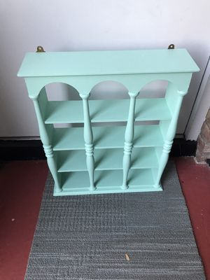 Aqua Turquoise Wood Wall Curio Shelves for Sale in Southampton Township, NJ