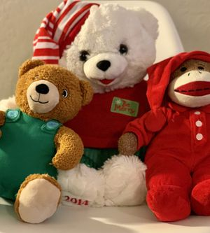 Set of 3 stuffed plush animals perfect for Christmas perfect condition for Sale in Phoenix, AZ