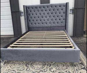 New FULL size grey velvet platform bed frame for Sale in Columbus, OH