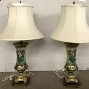 2 Each Vintage Hand Painted Lamps With Metal Base for Sale in Houston, TX