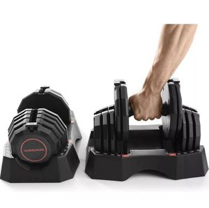 Weider 100lb Adjustable Dumbbell Set (50lb each) Select-a-Weight w/ Storage Tray for Sale in Tulare, CA