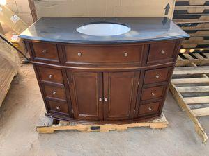 Home Decorators Collection Hampton Harbor 45 in. W x 22 in. D Bath Vanity in Sequoia with Granite Vanity Top in Black for Sale in Phoenix, AZ