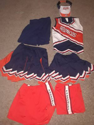 Broncos cheerleader cheer uniforms shirts shorts top hats pleasant grove on some for Sale in Winters, TX