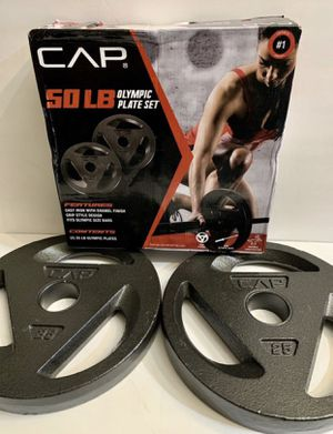🏋🏽♂️🏋🏽♂️🏋🏽♂️(2) 25 pounds Olympic plates brand new in a box!!' for Sale in San Bernardino, CA