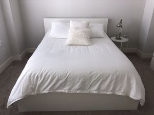 Queen mattress + Ikea Malm queen bed frame + base + 2 storage drawers for Sale in Houston, TX