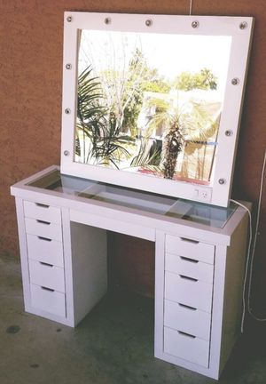 Glass top Vanity with mirror for Sale in Phoenix, AZ