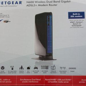 Netgear N600 Wireless Dyal Band Gigabit ADSL2 + Modem Router for Sale in Fort Myers, FL