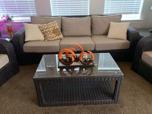 Gorgeous wicker indoor or out furniture set with matching tables for Sale in Las Vegas, NV