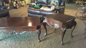 Coffee table and end tables perfect heavy carved for Sale in Las Vegas, NV