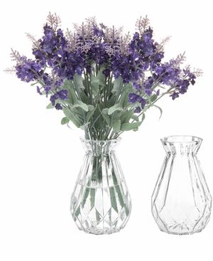 MyGift 5-Inch Decorative Clear Glass Diamond-Faceted Flower Vases, Set of 2 for Sale in White Plains, MD