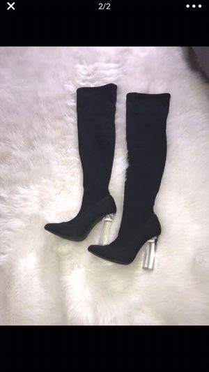 Fashion Nova clear heeled Thigh High boots for Sale in Eustis, FL