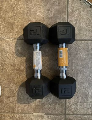 Pair Set Of 12 LB Pound CAP Rubber Coated Hex Dumbbells (24LB Total) for Sale in Chicago, IL