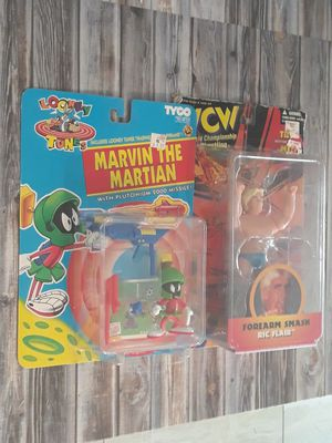 VTG Vintage 90's Looney Tunes Marvin the Martian WCW WWE WWF Wrestling Rick Flare Action Figure Sealed Toys with Original Price Stickers Lot Set for Sale in Birmingham, MI