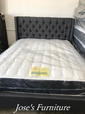 Grey Queen Size Bed (Mattress Included) for Sale in Lynwood, CA